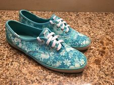Keds Women 6 Blue White Floral Slip On/ Lace Up Sneakers Tennis Shoe