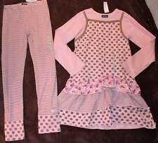 NWT Naartjie Pink Brown Spotty Ballerina Dress Striped Dot Leggings 10 Yrs.