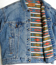 vtg Levi's BLUE DENIM Native Lined Jacket M MED 90s jean trucker 70417 usa 1990