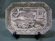 Vintage Hand Carved Cinnabar Lacquer Creame Tray ,Chinese Art Pagoda & Trees