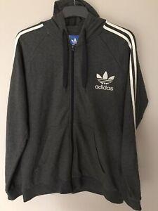 Men's Adidas Originals Zipped Hoodie Sweatshirt Hoody Jacket Size Xl Dark Grey
