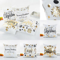 """18"""" Xmas Gold Letters Bronzing Snowflake Throw Pillow Case Sofa Cushion Cover-WI"""
