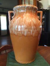 "Vintage Robinson Ransbottom Pumpkin Drip Glaze 18"" Floor Vase Oil Sand Jar"