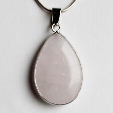 Semi-Precious Teardrop Stone Pendant on Silver Chain - Rose Quartz