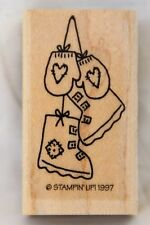 Rubber Stamp Boots Mittens Winter Heart Patch Stampin' Up