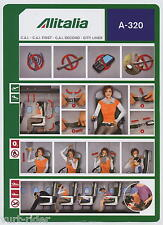 Alitalia CAI group all brand A-320 new small size 2013 safety card vg sc531