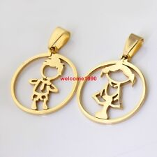 1set fashion gold jewelry Stainless Steel Silver baby girl &boy couple Pendant