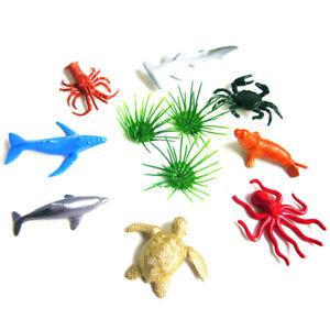 8pcs Marine Life Sea Animal Set Shark Kids Gift Dolphin Turtle Crab Model Toy.BI