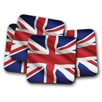 4 Set - Union Jack Flag Coaster - UK Great Britain British Travel Gift #15601