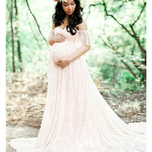 Lace Pregnancy Dresses Maternity Maxi Gown Clothes For Photography Photo Shoot