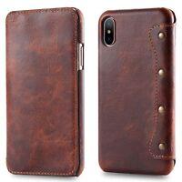Retro Echt Rindsleder Klapp Cover Handyhülle Case für iPhone 12 11 Pro X XS Max