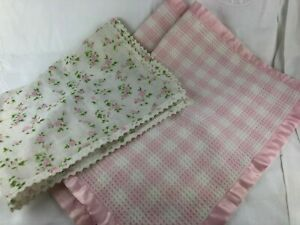 2 PINK AND WHITE CHECK DOLLS BLANKETS & A FLORAL SHEET