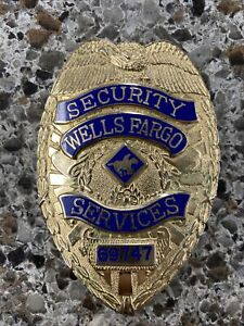 WELLS FARGO BANK SECURITY SERVICES BADGE - AUTHENTIC - VINTAGE - # 69747