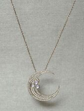 Solid 925 Sterling Silver Moon Cz Party Chain Necklace Jewelry Women Gift New