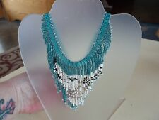 Turquoise White Artisan Beaded Wolf Pattern Exquisite Necklace