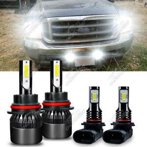For Ford F 250 F 350 Super Duty 2001-2004 4×LED Headlight Hi / Lo+Fog Lights Kit