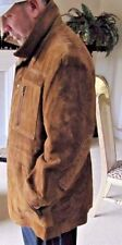 Rare Italy Vintage Hathaway Brown Leather Suede Coat w Stitching  Size 44-46 XL