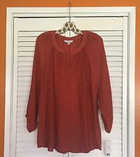 1X/XL New Cinnamon Crocheted Lace TUNIC BOHO PEASANT TOP Blouse 14/16 Henna