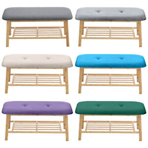 Wooden Shoe Rack Bench Shelf Shoes Changing Padded Seat forEntryway Hallway Room