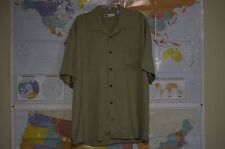 Bachrach Men's  Large Green 100% Silk Short Sleeve Button Down Hawiian Shirt