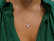 STAR NECKLACE WITH DIAMONDS 14K WHITE GOLD 0.20CT SI 1 CLARITY G COLOR