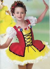 NWT small child Germanic Swiss Dance costume Sequin Lace Trim red yellow