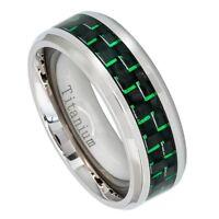 Titanium 8mm Polished Green Carbon Fiber Inlay Beveled Edge Wedding Band 7-13