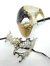 His & Hers Couple Phantom of the Opera Venetian Masquerade Mask [Gold Themed]