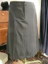 Gorgeous Business Black A line Work wear Skirt with white Panel stitch Lines 10