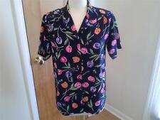 SIZE 10 - NEW $44.99 YVES ST. CLAIR Tulip Blouse Shirt Top Floral Navy - NWOT