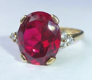 Large 9ct Gold Ruby & CZ Cocktail Ring, Size N