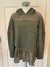 Thakoon Addition Olive Green Peplum Hoodie Shirt, Size 6
