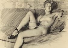 """Gil Elvgren Painting Poster or Canvas Print """"Reclining Nude in Heels"""" #104"""