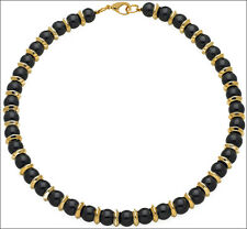 "Egyptian Black Onyx Beaded Necklace with 24K Gold-Plate Roundels 18"" Long"