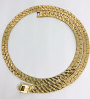 Wide Nugget Chain Necklace Gold Plated Double Sided Signed Vintage Jewelry