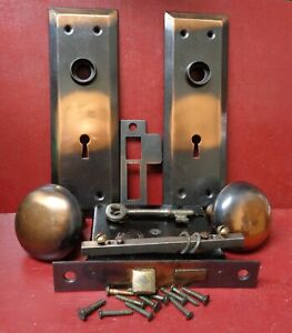 ANTIQUE NOS RHC COPPER FLASHED DOOR KNOBS BACK PLATES & MORTISE LOCK