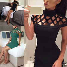 Womens Choker High Neck Bodycon Ladies Laser Cut Out Caged Sleeves Mini Dress