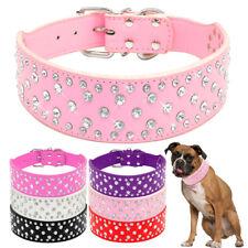 Bling diamante de imitación de cuero PU Collares Para Perros Medianos Grandes Pitbull S M L XL