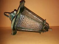 Superb antique lantern, iron / honeycomb glass lamp