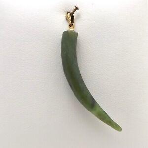 12k Gold Filled Green Jade Lucky Horn Pepper Amulet Charm Pendant