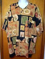 Koko Island USA Hawaiian Tiki Aloha Shirt Mens XXL Hula Ukelele Hawaii