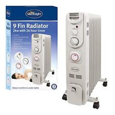Silentnight White 2000W 9 Fin Oil Filled Radiator Heater with Thermostat & Timer