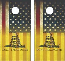Gadsden Dont Tread on Me Fade USA Flag Cornhole  Skin Wrap Decal SET - Laminated