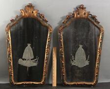 Antique 19thC Venetian Regence Gold Gilt Frame & Etched Figural Mirrors, NR