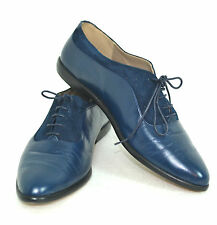 COMFORTABLE FLORDI LUNA BLUE GENUINE LEATHER SHOES SIZE 7 M ITALY