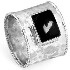 Solid 925 Sterling Silver Ring Genuine Onyx Gemstone Boho Wide Band Size
