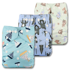 3 Washable Reusable Pocket Standard Cloth NAPPY Diaper