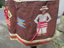 Vintage Half Apron Worry Doll Ethnic Man Woman 4 Pouch Pockets Brown Hand Made
