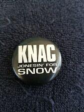 "Vintage 1980'S Knac Jonesin For Snow 1 1/4"" Button Pinback Pin Badge Radio"