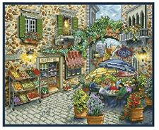 FRENCH CAFE COUNTED CROSS STITCH KIT 14 COUNT AIDA SIZE 44x37CM